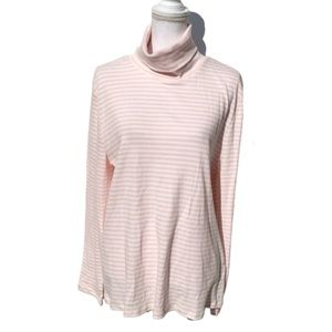 Tommy Hilfiger Pink and White Striped Turtleneck